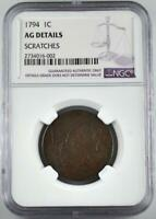 1794 FLOWING HAIR LARGE CENT NGC AG DETAILS SCRATCHES  AUCTION