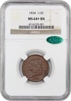 1834 1/2C NGC/CAC MINT STATE 64 BN - LOVELY TYPE COIN - LOVELY TYPE COIN