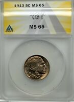 BUFFALO NICKEL 1913 P TYPE 1 ANACS  GRADED ORIGINAL COIN GEM MS65 NICE COLOUR