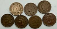 1862 1864 1866 1875 1889 1908 1909 MIXED LOT OF 7 INDIAN HEADS  VARIOUS GRADES