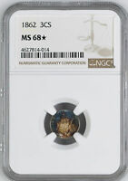 1862 SILVER 3CS NGC MINT STATE 68