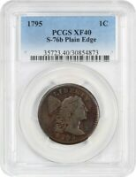 1795 PLAIN EDGE 1C PCGS EXTRA FINE 40 S-76B POPULAR EARLY LARGE CENT