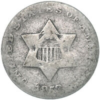 1853 THREE CENT SILVER COIN ABOUT GOOD AG SEE PICS D963