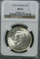 1937 CANADA SILVER $1 ONE DOLLAR CROWN NGC CERTIFIED MS 63 P
