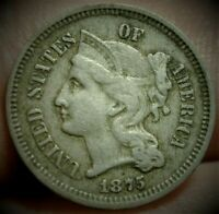 1875 BETTER DATE  3 CENT NICKEL TYPE COIN IN VF  CONDITION