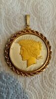 1928 SILVER PEACE DOLLAR TWO-TONE 24K GOLD HIGHLIGHTING EMBELLISHED AS PENDANT