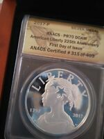 2017-P SILVER AMERICAN LIBERTY MEDAL - ANACS PR70 DCAM - FIRST DAY OF ISSUE