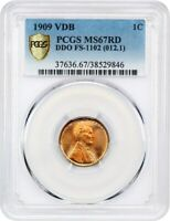 1909 VDB 1C PCGS MINT STATE 67 RD DOUBLED DIE OBVERSE LINCOLN CENT -  VARIETY