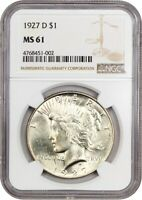 1927-D $1 NGC MINT STATE 61 - PEACE SILVER DOLLAR