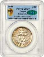 1938 OREGON 50C PCGS/CAC MINT STATE 67 - LOW MINTAGE ISSUE - SILVER CLASSIC COMMEMORATIVE