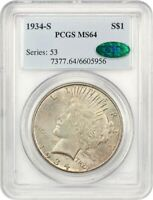 1934-S $1 PCGS/CAC MINT STATE 64 - KEY DATE FROM SAN FRANCISCO - PEACE SILVER DOLLAR