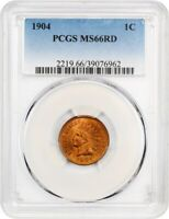 1904 1C PCGS MINT STATE 66 RD - INDIAN CENT - PRETTY RED GEM