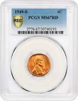 1949-S 1C PCGS MINT STATE 67 RD - LINCOLN CENT