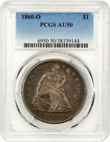 1860-O $1 PCGS AU50 - POPULAR NEW ORLEANS MINT - LIBERTY SEATED DOLLAR