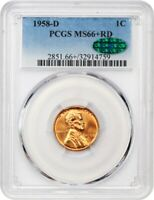 1958-D 1C PCGS/CAC MINT STATE 66 RD - LINCOLN CENT