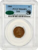 1866 1C PCGS/CAC MINT STATE 64 BN - INDIAN CENT
