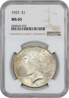 1925 $1 NGC MINT STATE 65 - PEACE SILVER DOLLAR