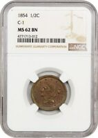 1854 1/2C NGC MINT STATE 62 BN - BRAIDED HAIR HALF CENTS 1840-1857 - LOVELY TYPE COIN