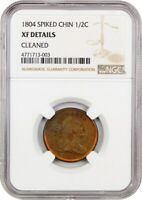 1804 1/2C NGC EXTRA FINE  DETAILS SPIKED CHIN, CLEANED -  & POPULAR VARIETY