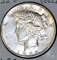 AU ALMOST UNCIRCULATED 1922-D PEACE SILVER DOLLAR $1 COIN