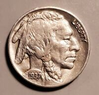 HIGH GRADE 1937-S BUFFALO NICKEL - ABOUT UNCIRCULATED AT A BARGAIN PRICE