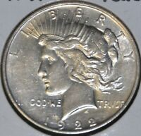 1922-D AU ALMOST UNCIRCULATED PEACE SILVER DOLLAR $1 COIN