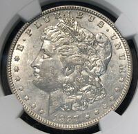 1887 TOP-100 MORGAN SILVER DOLLAR VAM-25A DONKEY TAIL NGC AU 53