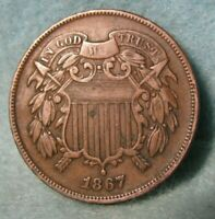 1867 TWO CENT PIECE BETTER GRADE UNITED STATES COIN