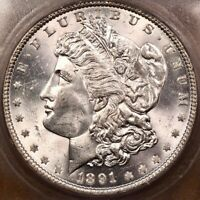 1891 BETTER DATE MORGAN DOLLAR, ICG MINT STATE 63, SUPER CHOICE PQ DAVIDKAHNCOINS