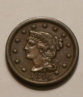 1846 BRAIDED HAIR LARGE CENT  BROWN FULL DETAIL