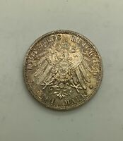 GERMANY 1913A 3 MARK 25TH ANNIVERSARY WILHELM CHOICE COIN WILHELM II KM535