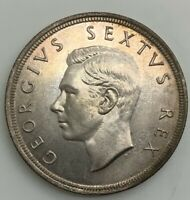 1951 GEORGE VI  SOUTH AFRICA 5 SHILLING SPRINGBOK CROWN SUPERB COIN LIGHT TONE