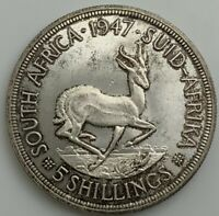 1947  GEORGE VI  SOUTH AFRICA 5 SHILLING SPRINGBOK CROWN ROYAL VISIT CHOICE BU