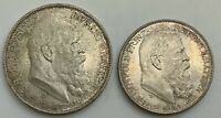 1911D 2 & 3 MARK BAVARIA 90 BIRTHDAY COMMEMORATIVES KM997&KM998 TONED NEAR GEM