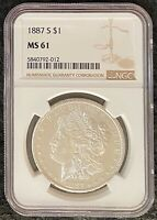 1887-S $1 MORGAN SILVER DOLLAR NGC SLAB MINT STATE 61 SEMI-KEY BLAZING LUSTRE