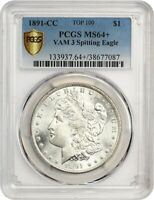 1891-CC $1 PCGS MINT STATE 64 VAM 3, SPITTING EAGLE TOP 100  DATE