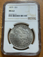 1879 MORGAN DOLLAR SILVER $1 MINT STATE 62 NGC