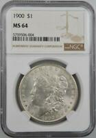1900 P MORGAN DOLLAR MINT STATE 64 NGC  FLASHY FROST BLAST WHITE BU GEM  SHIPS FREE