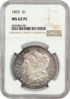 1893 $1 NGC MINT STATE 62 PL - BETTER DATE P-MINT - MORGAN SILVER DOLLAR