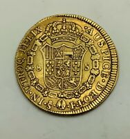 CHILE 1813 SO FJ 8 ESCUDOS GOLD FERDINAND VII TYPE COIN SOME MARKS SOLID GRADE