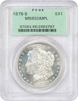 1878-S $1 PCGS MINT STATE 65 DMPL OGH OLD GREEN PCGS HOLDER - MORGAN SILVER DOLLAR