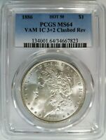 1886 SILVER MORGAN DOLLAR PCGS MINT STATE 64 VAM 1C CLASHED REVERSE MINT ERROR HOT 50