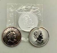 2006  2010 2017 SILVER MAPLE LEAFS 1 OZ .9999  COINS LOT OF 3 DIFFERENT DATES
