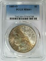 1885 O SILVER MORGAN DOLLAR PCGS MINT STATE 64 PLUS MONSTER RAINBOW TONER TONED TONING