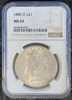 1885-O $1 MORGAN SILVER DOLLAR NGC SLAB MINT STATE 63 WITH  REVERSE TONING
