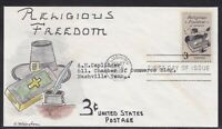 SCOTT 1099 RELIGIOUS FREEDOM WINSTON HAND PAINTED FIRST DAY