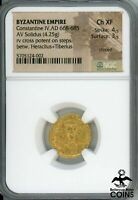 668 685 AD BYZANTINE EMPIRE CONSTANTINE IV GOLD SOLIDUS NGC