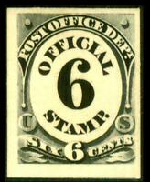 O50P4 PROOF POST OFFICE 6C BLACK NUMERAL ON CARD MH SEE PHOT