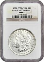 1891-CC $1 NGC MINT STATE 61 -  DATE - MORGAN SILVER DOLLAR -  DATE