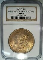 1885 O SILVER MORGAN DOLLAR NGC MINT STATE 64 GREAT MONTANA COLLECTION PEDIGREE TONED